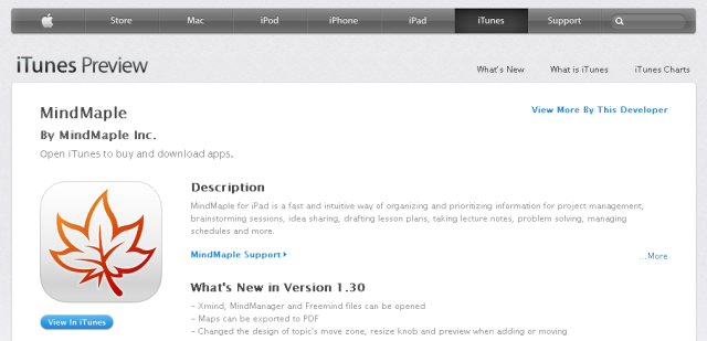 MindMaple Pro for v1.3 is now available in iTunes store